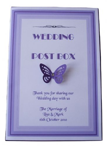 Post Box Label / Card - Centre  Butterfly Design